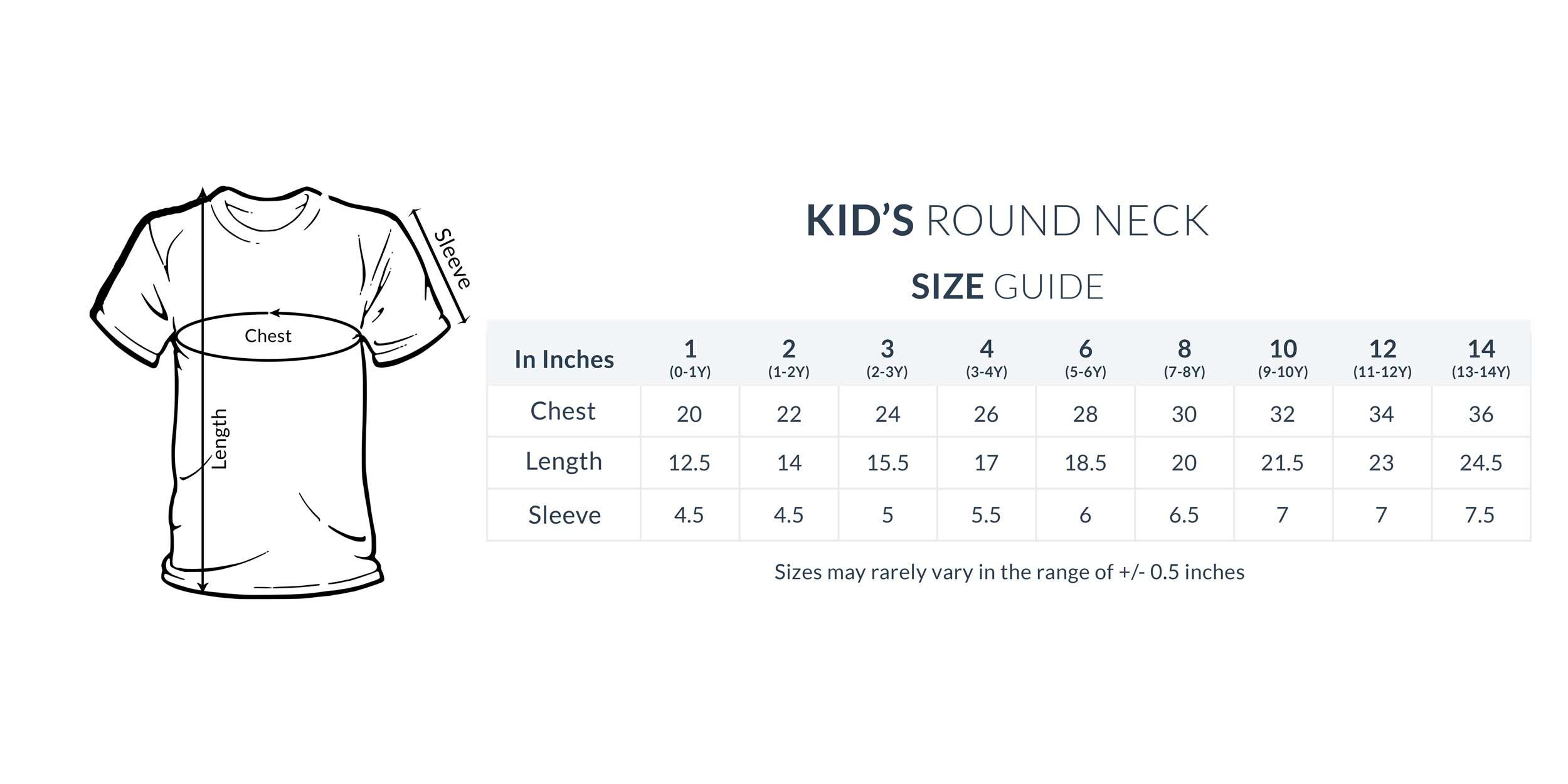 Kid's Round Neck Size Chart