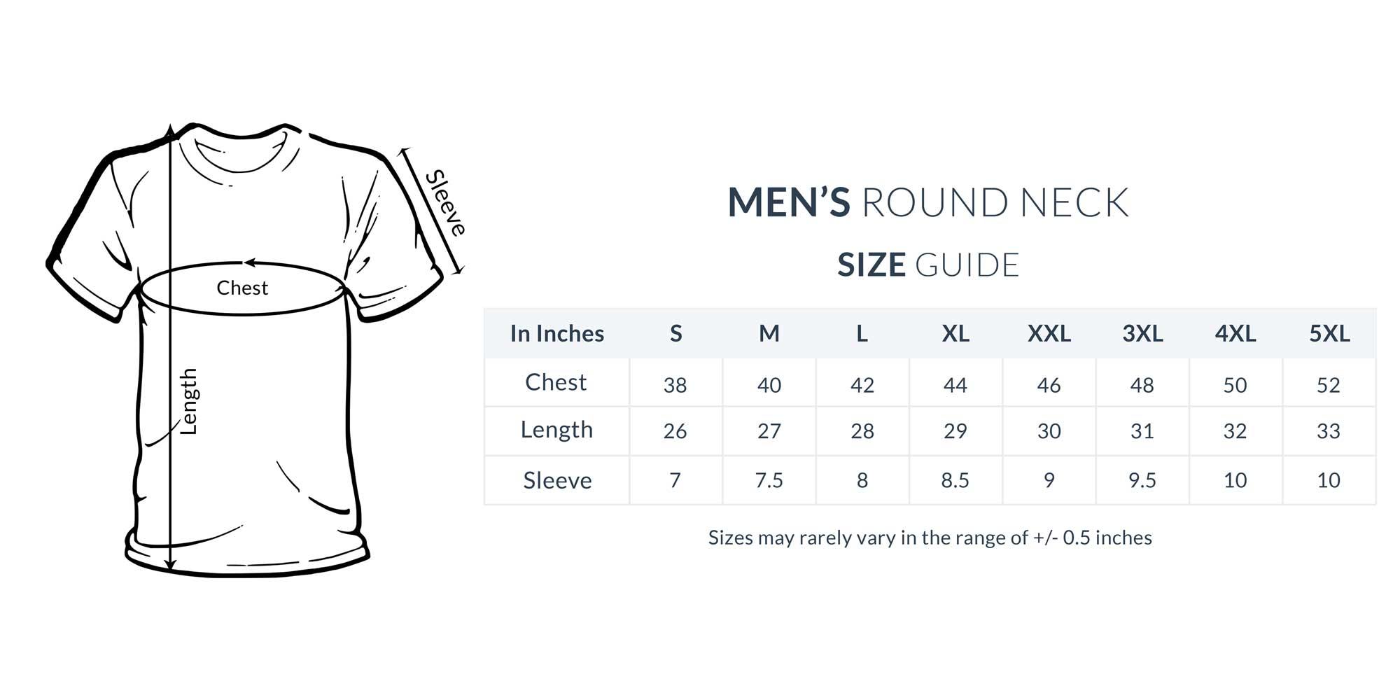 Men's T-Shirts Size Chart